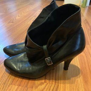 Gently worn black booties